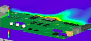 SolidWorks 3D model of PCB with thermal simulation.